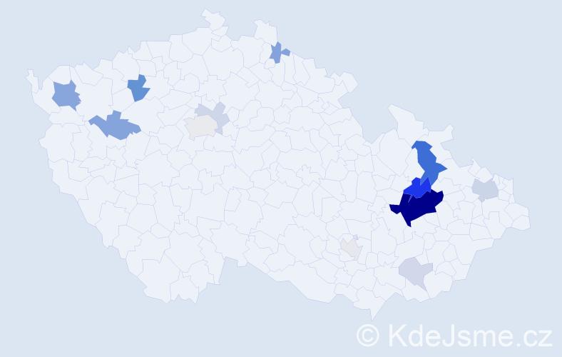 Příjmení: 'Číhalík', počet výskytů 43 v celé ČR