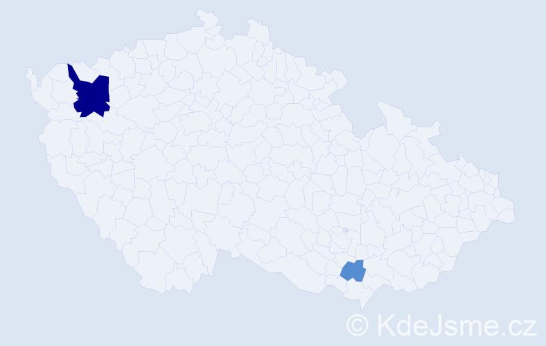 Příjmení: 'Hagová', počet výskytů 6 v celé ČR