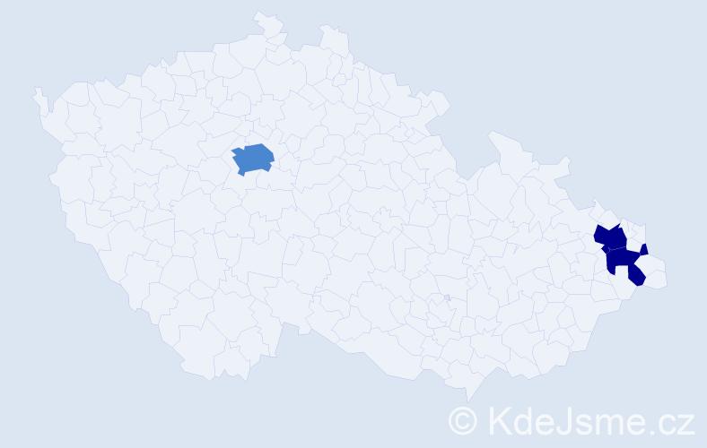 Příjmení: 'Čečotová', počet výskytů 10 v celé ČR