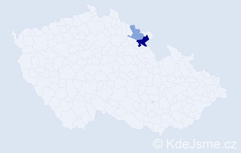Příjmení: 'El', počet výskytů 5 v celé ČR