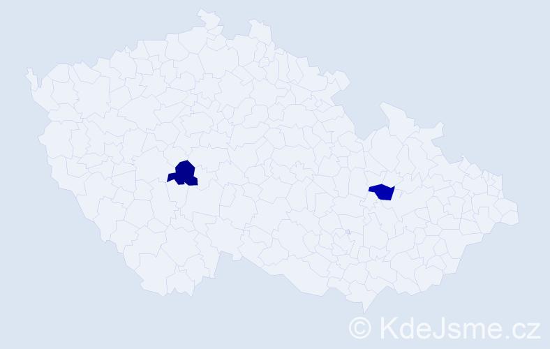 Příjmení: 'Gerčak', počet výskytů 4 v celé ČR