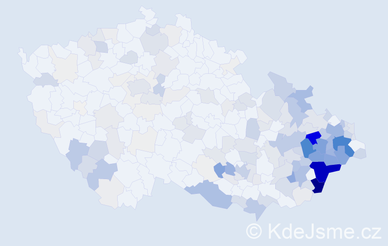Příjmení: 'Juřicová', počet výskytů 881 v celé ČR