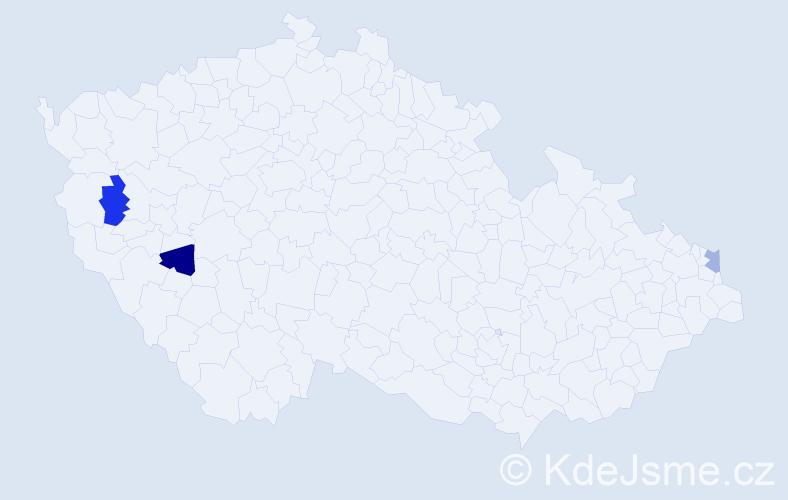 Příjmení: 'Kaplár', počet výskytů 6 v celé ČR