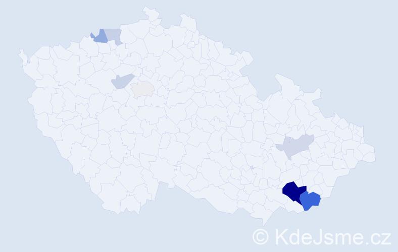 Příjmení: 'Bída', počet výskytů 19 v celé ČR