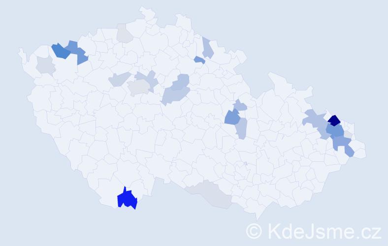 Příjmení: 'Lesňák', počet výskytů 74 v celé ČR