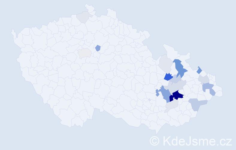 Příjmení: 'Jehlář', počet výskytů 83 v celé ČR