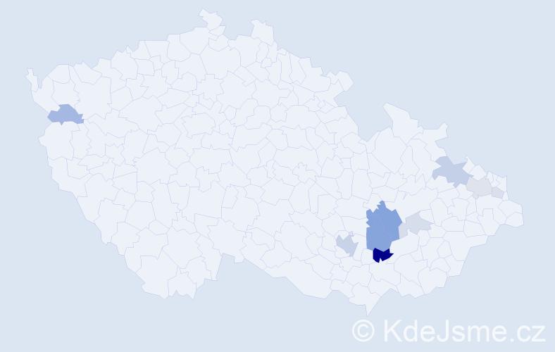 Příjmení: 'Lamplota', počet výskytů 24 v celé ČR