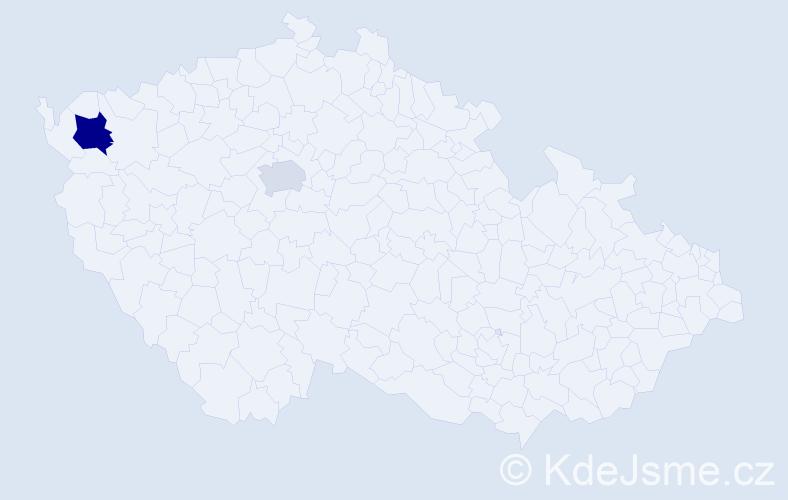 Příjmení: 'Incédy', počet výskytů 9 v celé ČR