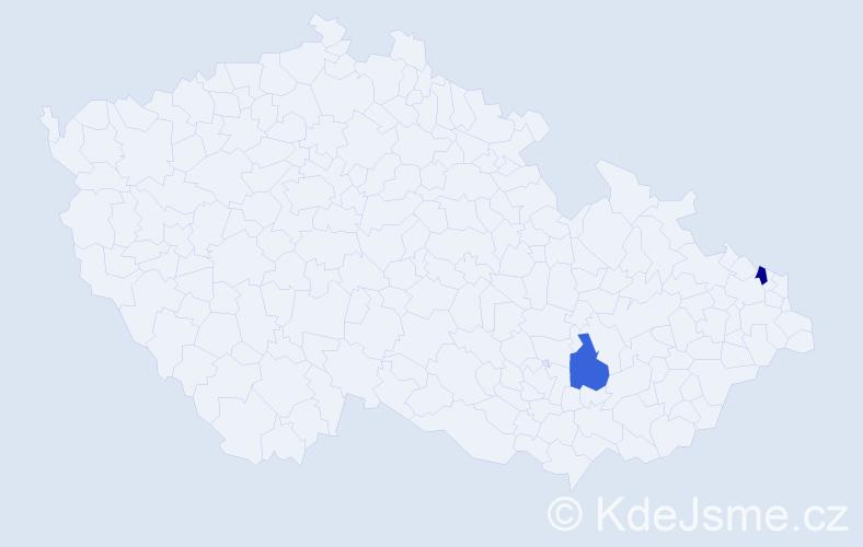 Příjmení: 'Gőrčőš', počet výskytů 2 v celé ČR