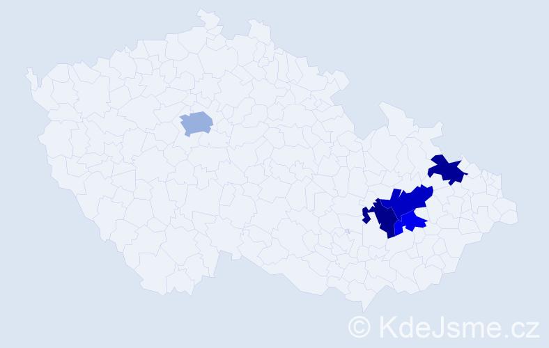 Příjmení: 'Čečmanová', počet výskytů 22 v celé ČR