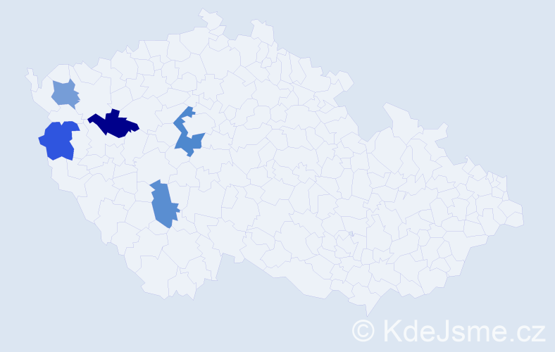 Příjmení: 'Bencsik', počet výskytů 6 v celé ČR