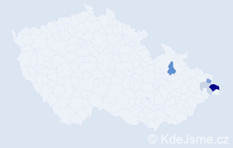 Příjmení: 'Dyrda', počet výskytů 13 v celé ČR