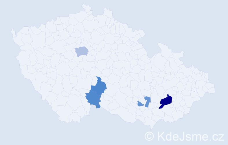 Příjmení: 'Elmer', počet výskytů 10 v celé ČR