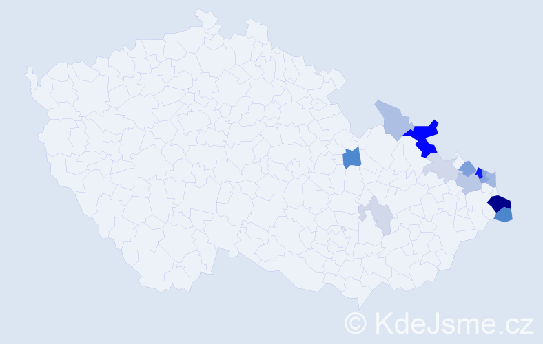 Příjmení: 'Legerski', počet výskytů 37 v celé ČR