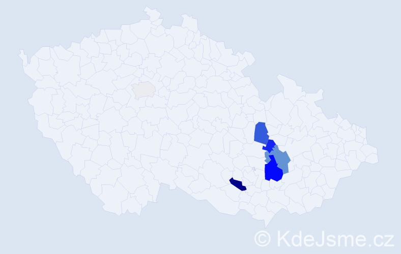 Příjmení: 'Hádrová', počet výskytů 16 v celé ČR