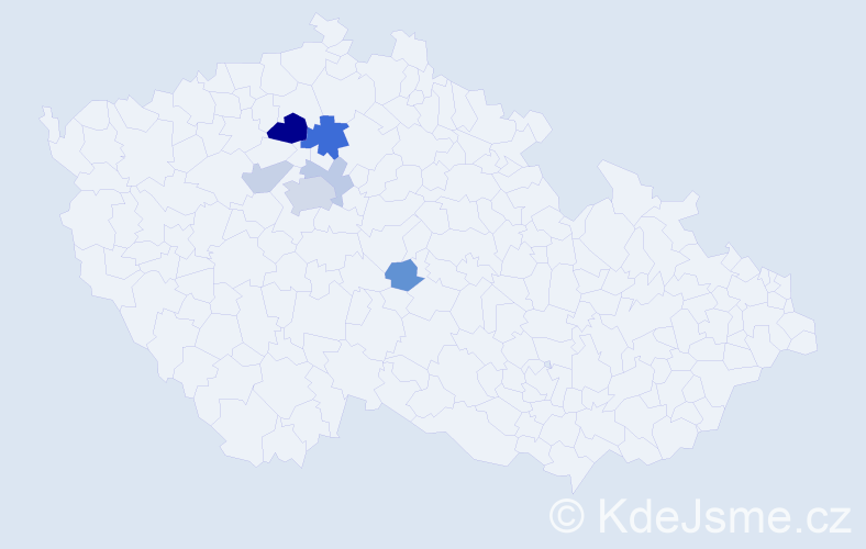 Příjmení: 'Děžinská', počet výskytů 15 v celé ČR