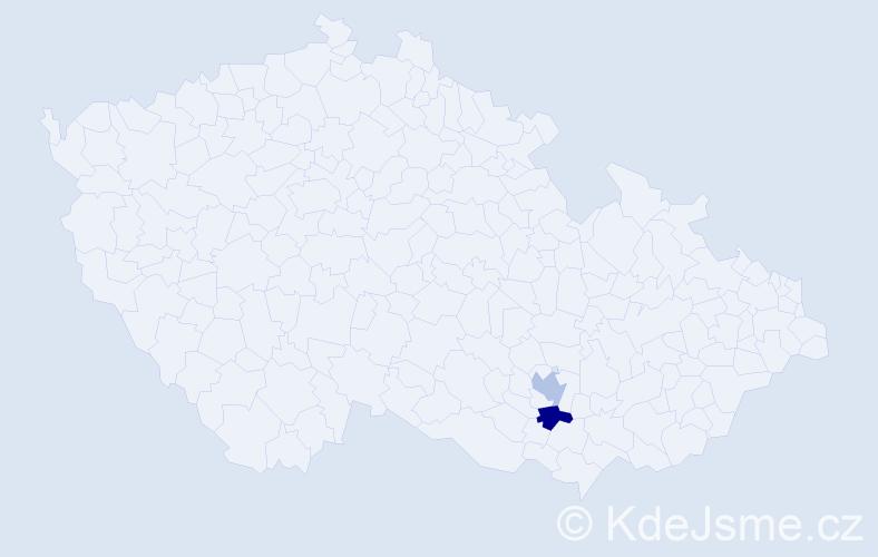 Příjmení: 'Ečegyová', počet výskytů 2 v celé ČR