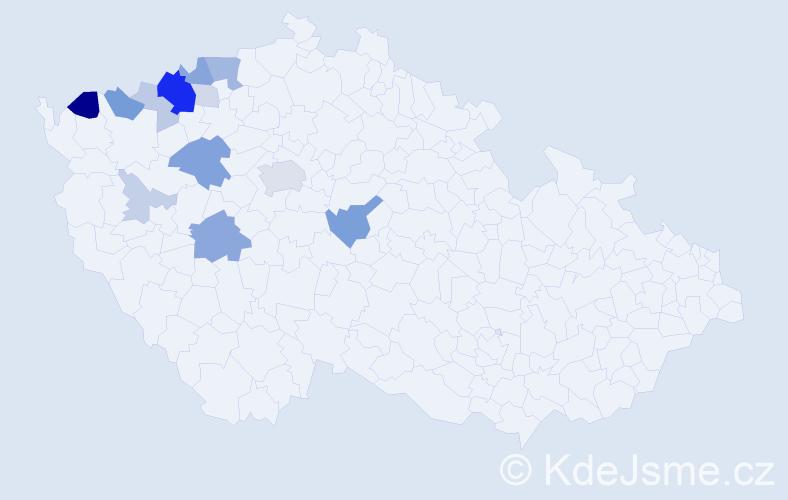 Příjmení: 'Brodníček', počet výskytů 39 v celé ČR