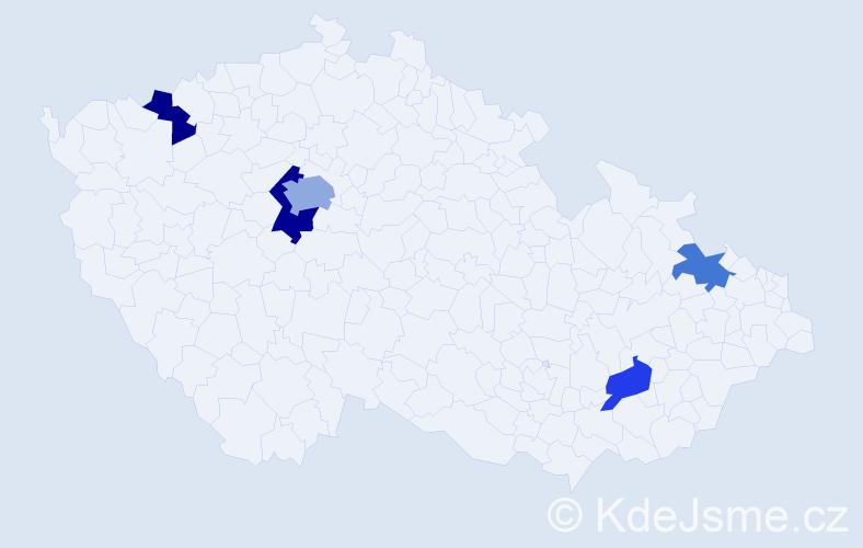 Příjmení: 'Češelská', počet výskytů 8 v celé ČR