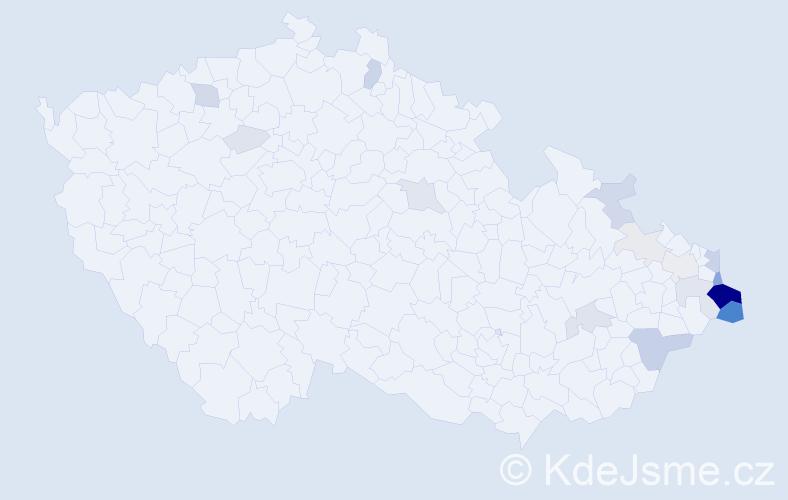 Příjmení: 'Fizek', počet výskytů 77 v celé ČR