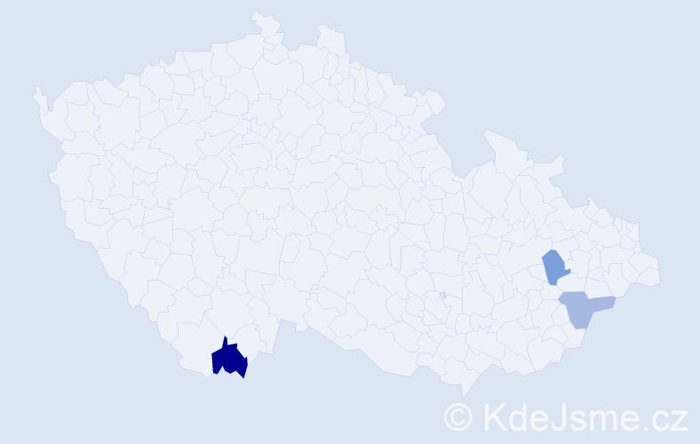 Příjmení: 'Jestřebský', počet výskytů 4 v celé ČR