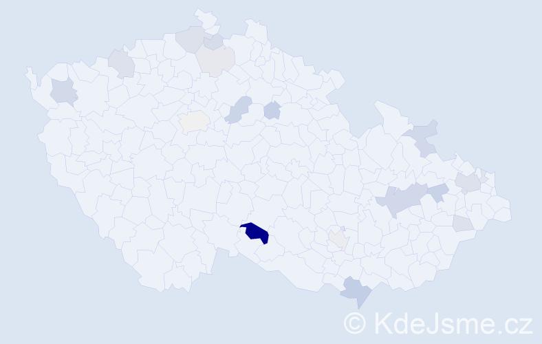 Příjmení: 'Líčková', počet výskytů 44 v celé ČR