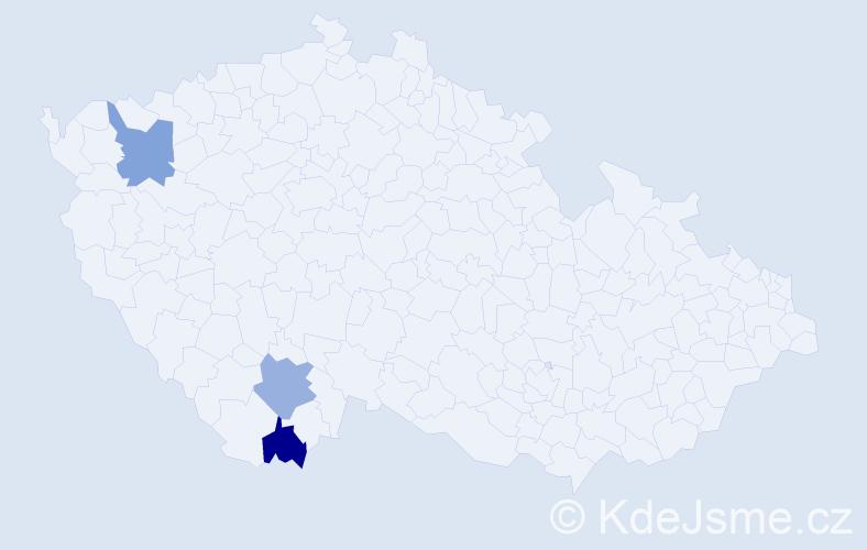 Příjmení: 'Kmín', počet výskytů 3 v celé ČR