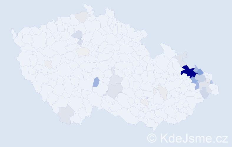 Příjmení: 'Hulva', počet výskytů 98 v celé ČR
