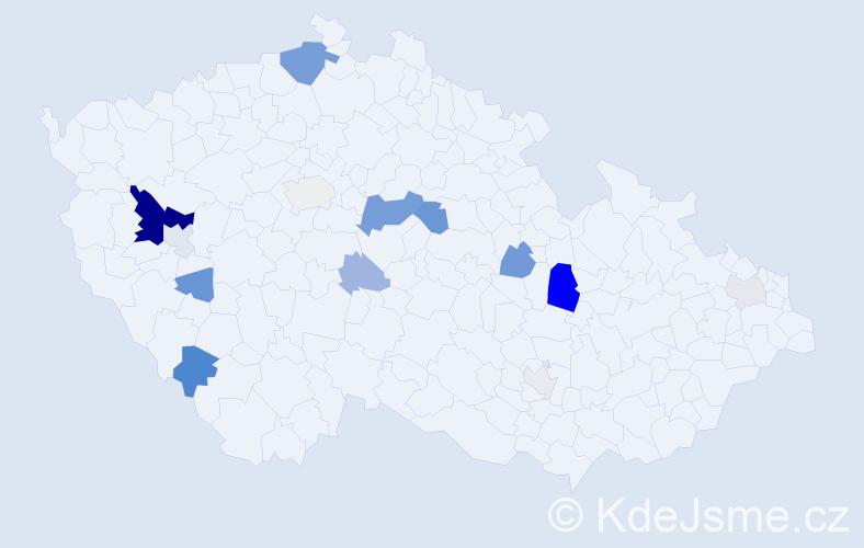 Příjmení: 'Grubrová', počet výskytů 39 v celé ČR