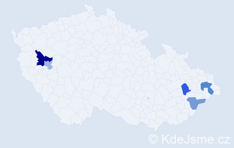 Příjmení: 'Kacerlová', počet výskytů 15 v celé ČR