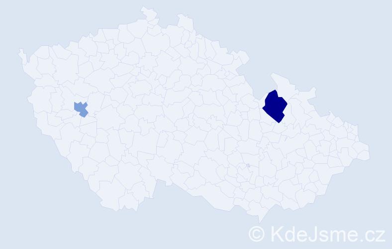 """Příjmení: '""""De Haan""""', počet výskytů 3 v celé ČR"""