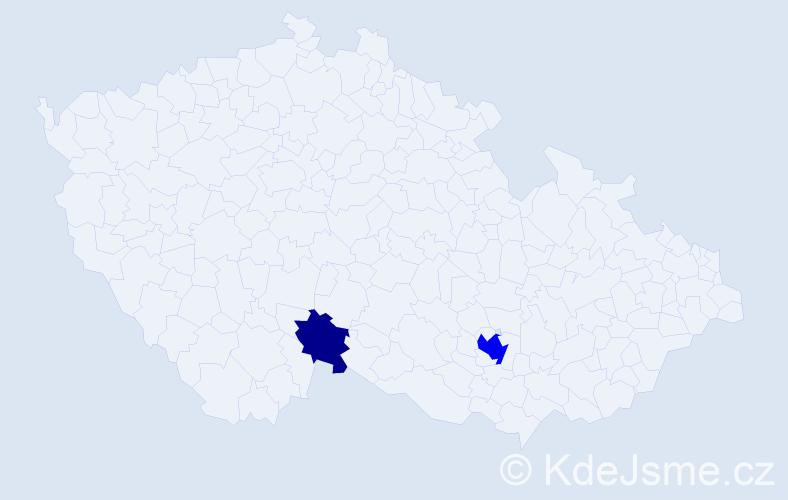 Příjmení: 'Karolčík', počet výskytů 5 v celé ČR