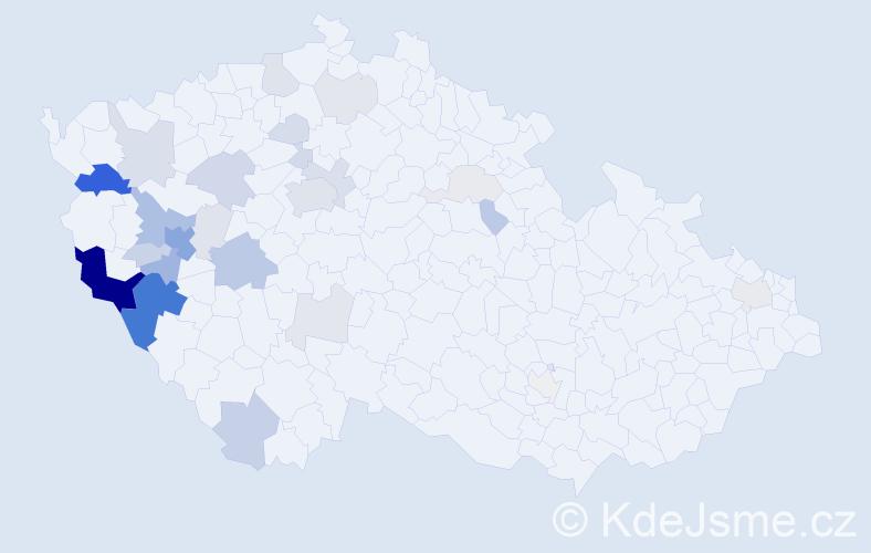 Příjmení: 'Kacerovský', počet výskytů 104 v celé ČR