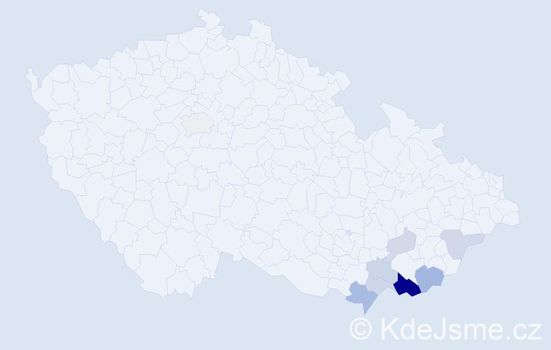Příjmení: 'Janůš', počet výskytů 18 v celé ČR
