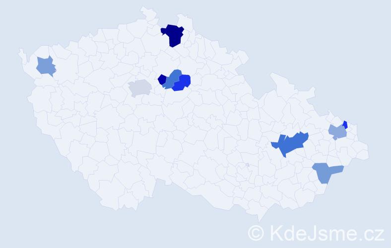 Příjmení: 'Ďuríková', počet výskytů 18 v celé ČR