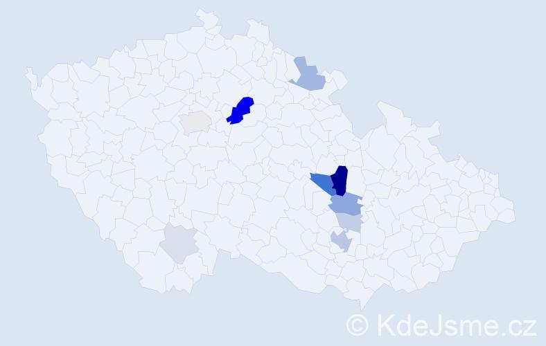 Příjmení: 'Ettlová', počet výskytů 27 v celé ČR