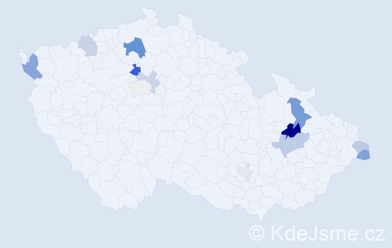 Příjmení: 'Halo', počet výskytů 23 v celé ČR