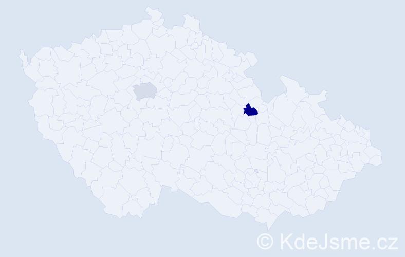 Příjmení: 'Carey', počet výskytů 5 v celé ČR