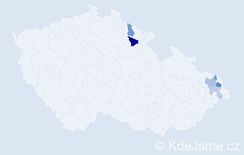 Příjmení: 'Čudejko', počet výskytů 13 v celé ČR