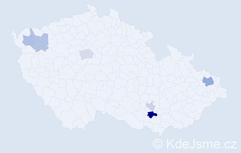 Příjmení: 'Kartašová', počet výskytů 15 v celé ČR
