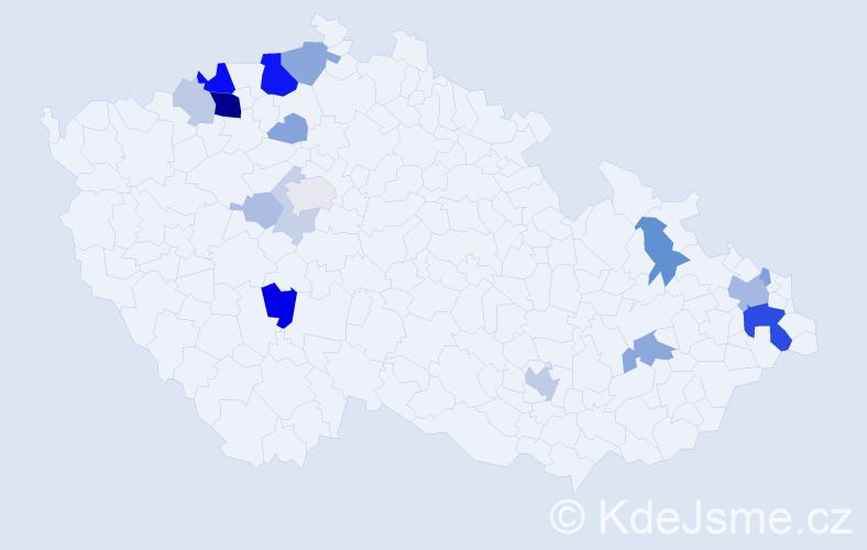 Příjmení: 'Hajasová', počet výskytů 51 v celé ČR