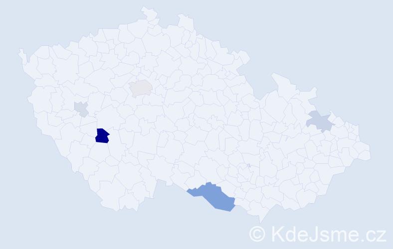 Příjmení: 'Erdogan', počet výskytů 9 v celé ČR