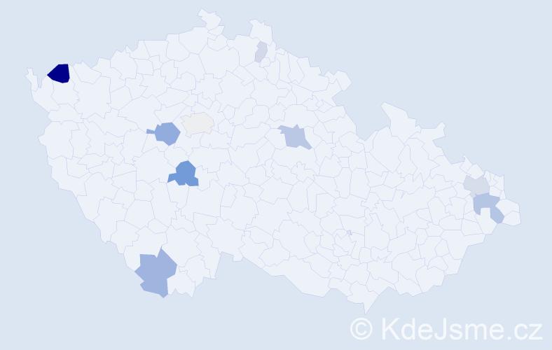 Příjmení: 'Čabajová', počet výskytů 22 v celé ČR