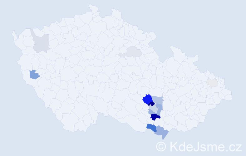 Příjmení: 'Bábor', počet výskytů 40 v celé ČR