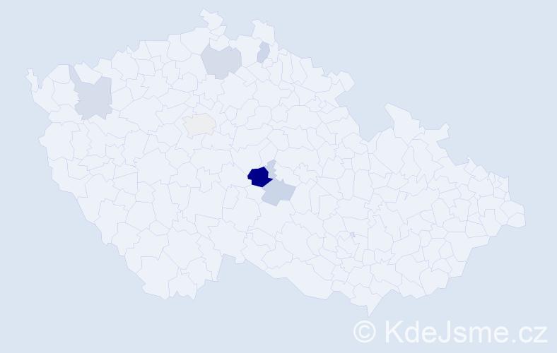 Příjmení: 'Cíp', počet výskytů 10 v celé ČR