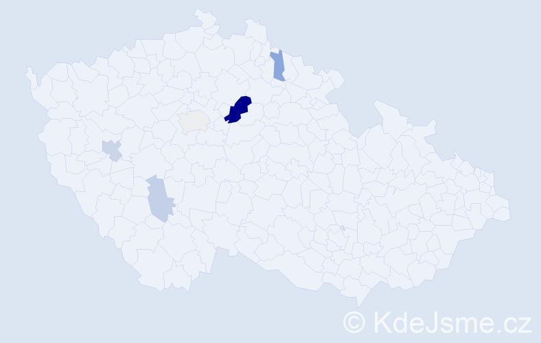 Příjmení: 'Kelyman', počet výskytů 13 v celé ČR