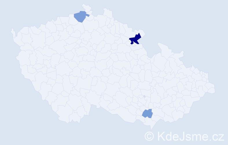 Příjmení: 'Dudo', počet výskytů 9 v celé ČR