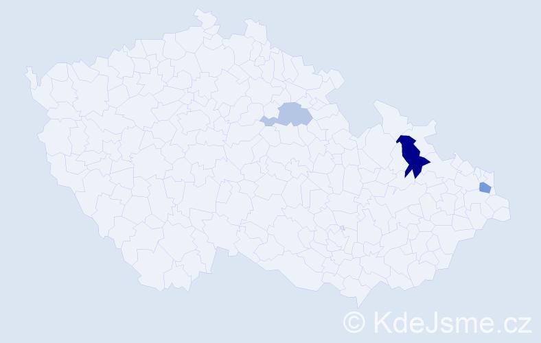 Příjmení: 'Caránek', počet výskytů 6 v celé ČR
