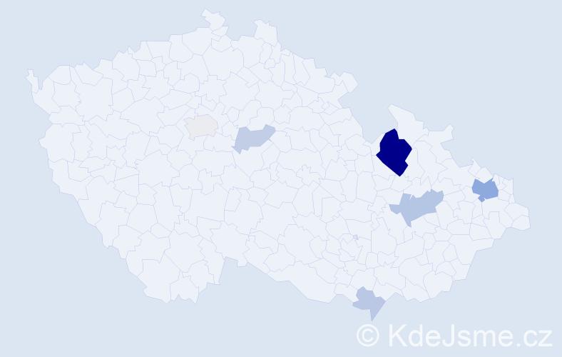 Příjmení: 'Diopan', počet výskytů 21 v celé ČR