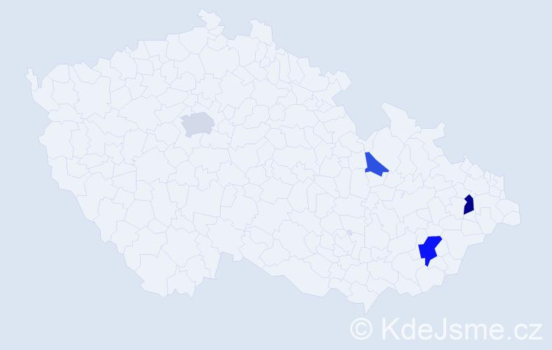 Příjmení: 'Čechálová', počet výskytů 8 v celé ČR